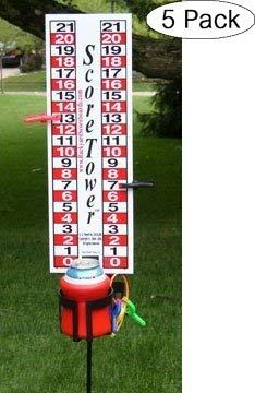 ScoreTower - Scoreboard & Drinkholder for Bocce Ball (Fivе Расk) by Backyard Scoreboards