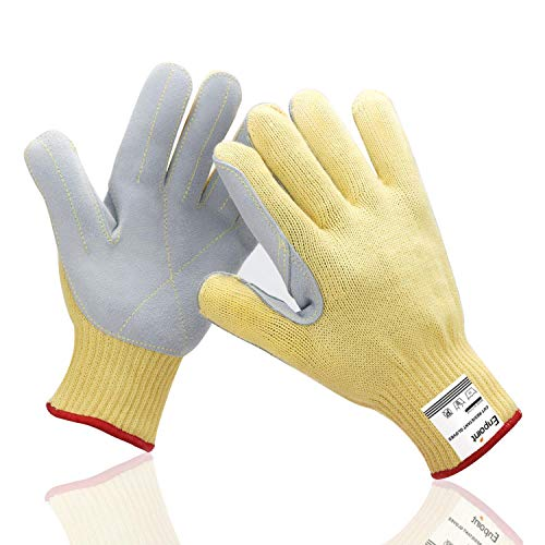 Kevlar Knit Work Gloves, EnPoint Aramid Fiber Gloves, 11 cm / 4.3 in Palm Width Cut Resistant Split Leather Gloves, Puncture Proof & Heat Resistant for BBQ Grilling Welding Pot Holder Stove Fireplace