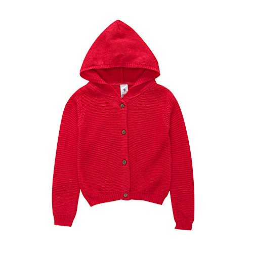 Autumn Winter Kids Sweater,Fineser Stylish Baby Boy Girl Pure Color Warm Knitted Hooded Cardigan Tops Sweater Jacket Coat 4 Colors (Red, 12-18 Months) -