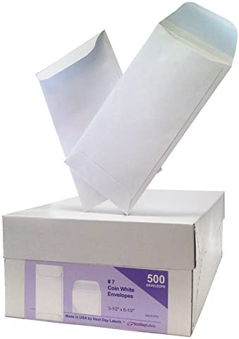 #7 Coin White Envelope for Small Parts, Cash, Jewelry Etc, 500 Per Box (500 Reg. Gum) 412BRqn0qTTL