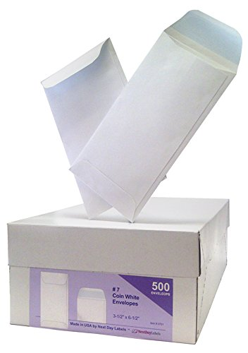 #7 Coin White Envelope for Small Parts, Cash, Jewelry Etc, 500 Per Box (500 Reg. Gum) ()