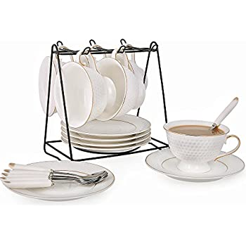 Kendal White Porcelain Tea Set of 6 with Rack, 8 oz Coffee Cups Set, Bone China Tea Cups and Saucers Sets with Gold Trim GLF