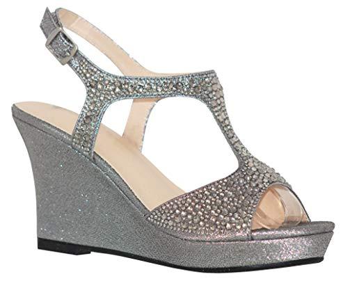 (MVE Shoes Women's Open Toe Glitter Wedges Adjustable Strap, WINNI-12 Pewter 9)