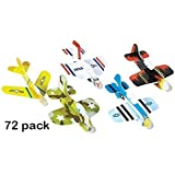 Foam Glider Plane Toy Set - 4 Inch, Assorted Pack of 72 - For Parties, Kids, Decoration, Gifts, Outdoors, and Other Events - Kidsco