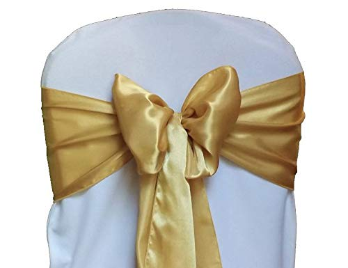 mds Pack of 100 Satin Chair Sashes Bow sash for Wedding and Events Supplies Party Decoration Chair Cover sash ()