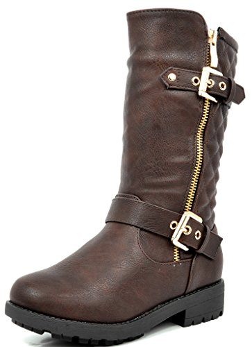 Slouch Riding Boots - DREAM PAIRS Girls Little Kid Knice Brown Knee High Winter Motorcycle Riding Boots Size 2 M US Little Kid