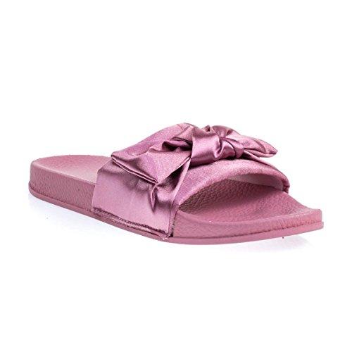 Platte Pantoffelsandaal Met Dik Gevormd Voetbed En Satijnen Boven- En Bovendoek Mauve Roze