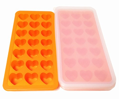 EPHome 2Pack Platinum Silicone Ice Mold Frozen Ice Tray with Silicone Lid, Totally 42 Cubes (Orange Heart)
