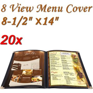 Menu Cover: PVC Vinyl 8 View (Cafe) 8-1/2''x14'' 20 Pcs by KOVAL INC.