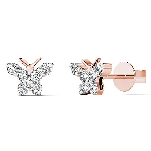 JewelAngel Kids Big Girl's 1/6 Carat TDW Diamond Cute Butterfly Stud Earrings (H-I, I1-I2) 10K Rose Gold by JewelAngel Kids