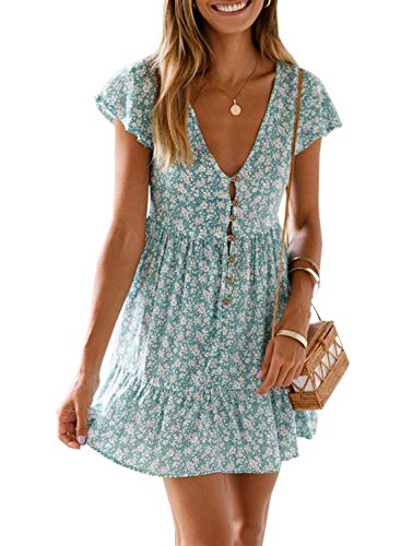 - Dokotoo Womens 2019 Summer Casual Bohemian Deep V Neck Dress Short Sleeve Floral Print Flowy Ruffle A Line Holiday Mini Dress Green Small