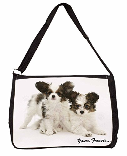 Papillon Dogs Yours Forever Large 16 Black School Laptop Shoulder Bag