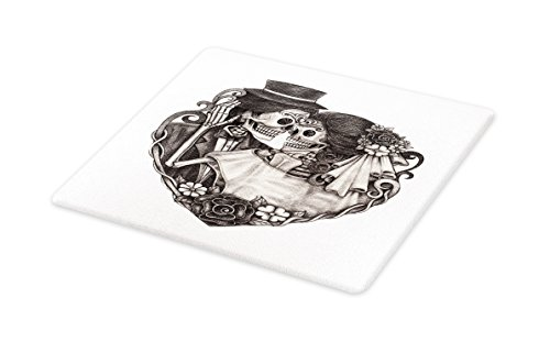 Lunarable Tattoo Cutting Board, Skull Wedding Day of Dead Couple Bride and Groom Endless Love Vintage Artwork Print, Decorative Tempered Glass Cutting and Serving Board, Small Size, Ash ()