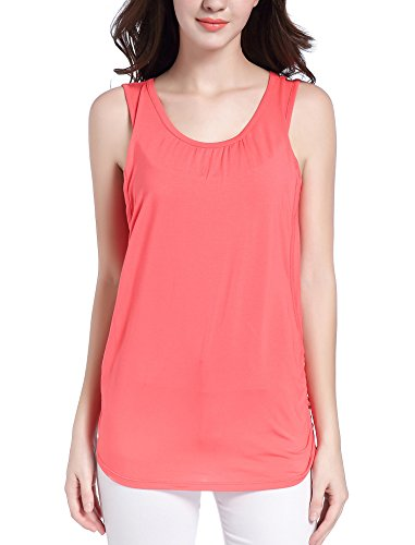 SUIEK Maternity Nursing Shirt Breastfeeding Tank Tops Cami (Small, Coral)