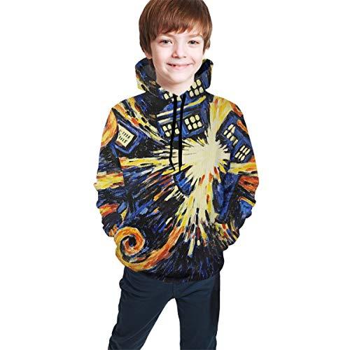 Van Gogh's Exploding Tardis Kids Boys Girls 3D Print Hooded Sweatshirt Fashion Pullover Black (Tardis Sweatshirt)