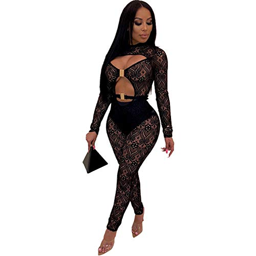 (PORRCEY Women Long Sleeve Club Overalls Lace Bodycon Romper Party Jumpsuits (X-Large, Black 3))