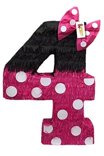 APINATA4U Hot Pink & Black Number Four Pinata 23