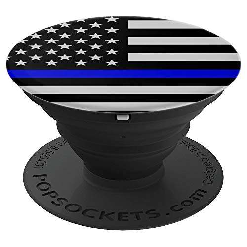 Thin Blue Line Blue Lives Matter Police USA Flag America Cop - PopSockets Grip and Stand for Phones and Tablets