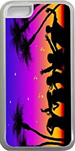 Rikki KnightTM Beach Party Silhouette Design iPhone 5c Case Cover (Clear Rubber with bumper protection) for Apple iPhone 5c