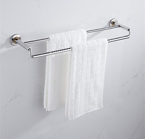 Thickening Double Towel Bar Holder Wall Mounted Bathroom Towel Rail Storage Rack Bathroom Towel Shelf 304 Stainless Steel Hanging Towel Dual Hanger, 2 Bar (50cm / (Wall Mounted Toilet Support)