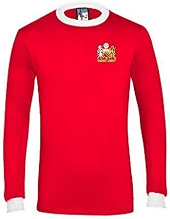 Retro Manchester United 1970s Manga Larga Fútbol camiseta nueva tallas S-XXL Logotipo Bordado, Rojo, Large: Amazon.es: Ropa y accesorios
