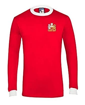 a832c3f03 Retro Manchester United 1970s Long Sleeved Football T Shirt New Sizes S-XXL  Embroidered Logo  Amazon.co.uk  Clothing