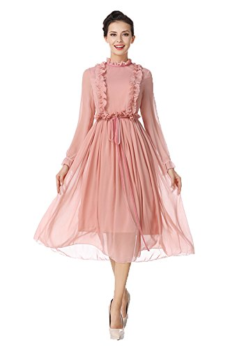 Court With Belt S New Long Skirt S Sleeves Chiffon Pink Women's Tag US Applique Style FZEUw8