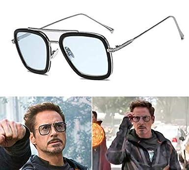 Outray Retro Iron Man Occhiali da sole Tony Stark Occhiali Square Eyewear Metal Frame per Uomo Donna