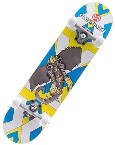 Punisher Skateboards Warphant Complete Skateboard with Concave Deck, Gray/Yellow, 31-Inch
