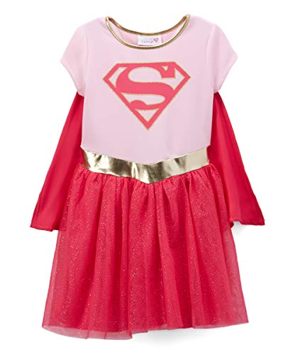 DC Comics Girls Costume Dress Cape Sparkle Tulle Skirt (Supergirl, 5/6) -
