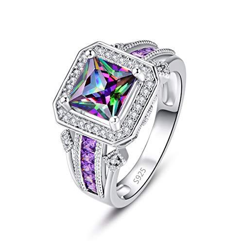 PAKULA 925 Sterling Silver Women Princess Cut Simulated Mystic Topaz Halo Band Ring Size - Topaz Bow