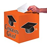 Club Pack of 6 Sun-kissed Orange ''Congrats Grad'' Decorative Graduation Party Card Boxes 9''
