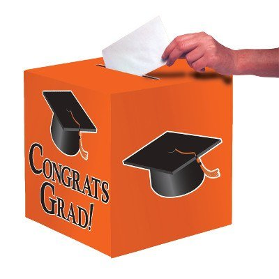 Club Pack of 6 Sun-kissed Orange ''Congrats Grad'' Decorative Graduation Party Card Boxes 9'' by Party Central