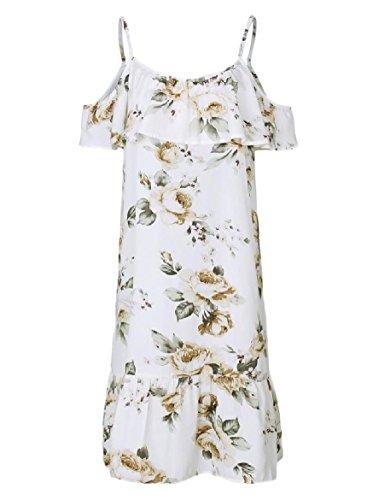 Moda Fionda Allentata Bianco Floreale Stampato Prendisole donne A Sexy Balze Coolred w4qPvTT
