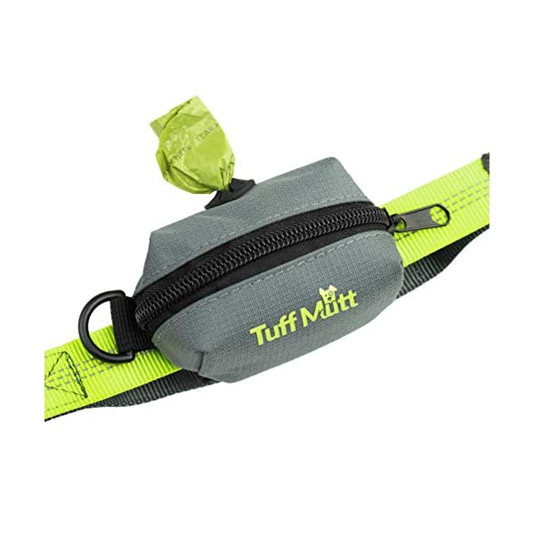 Tuff Mutt – Dog Poop Bag Holder Leash Attachment, Includes 1 Roll of Earth Rated Poop Bags | Waste Bag Dispenser with Lightweight Fabric Makes a Great Walking, Running or Hiking Accessory