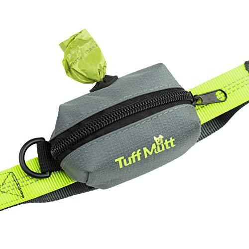 (Tuff Mutt - Dog Poop Bag Holder Leash Attachment, Includes 1 Roll of Earth Rated Poop Bags | Waste Bag Dispenser with Lightweight Fabric Makes a Great Walking, Running or Hiking Accessory)