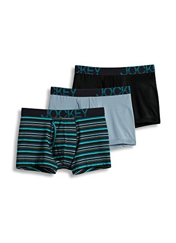 Jockey Men's Underwear ActiveStretch™ Boxer Brief - 3 Pack, Black/Green Stripe/Silver line Blue, L Jockey Boxer Underwear