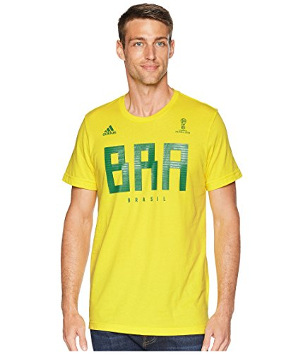adidas Adult Men Soccer Tee, Yellow, Large