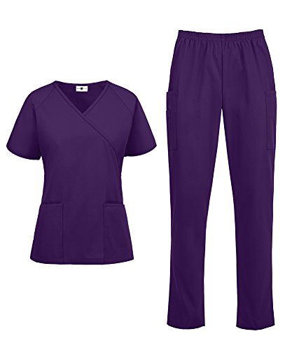 Women's Medical Uniform Scrub Set - Includes Mock Wrap Top and Elastic Pant (XS-3X, 14 Colors) (Medium, Eggplant)
