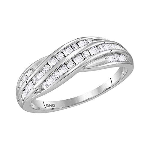 Diamond Baguette Channel Band - 10kt White Gold Womens Round Baguette Diamond Crossover Band Ring 1/3 Cttw