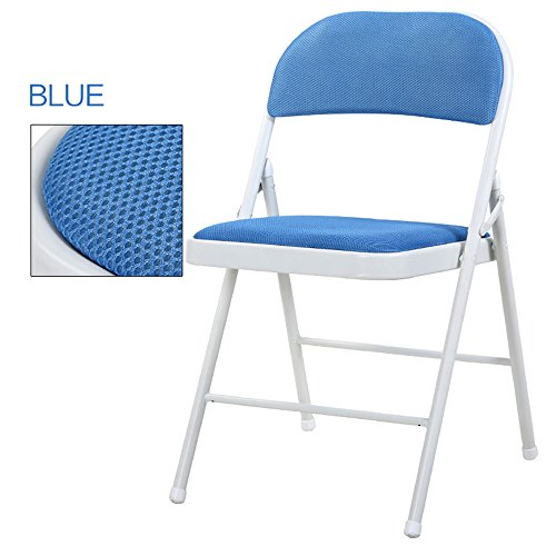 Breathable dining chair / backrest computer chair / casual simple folding chair / dormitory chair / conference chair / portable folding chair / home dinette / five colors optional / ( Color : Blue ) by Folding Chair