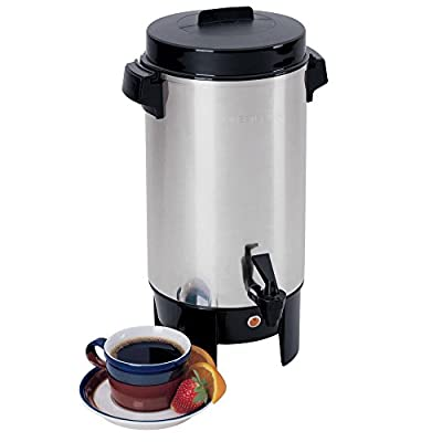 West Bend 58002 12-42 Cup Automatic Party Perk Coffee Commercial Polished Urn, Stainless Steel