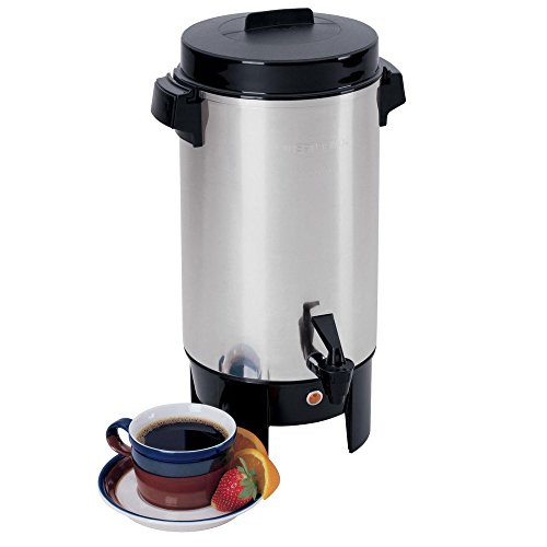 - West Bend 58002 Highly Polished Aluminum Commercial Coffee Urn Features Automatic Temperature Control Large Capacity with Quick Brewing Easy Prep and Clean Up Up, 42-Cup, Silver