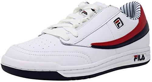 White Fila Sneakers (Fila Men's Original Tennis Pinstripe Athletic Sneakers, White, Leather, Rubber, 8.5 M)
