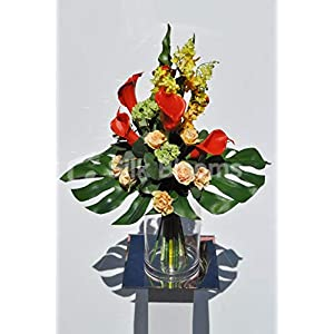 Silk Blooms Ltd Artificial Bright Red Calla Lily and Peach Rose Flower Display w/Yellow Orchids and Green Snowball 117