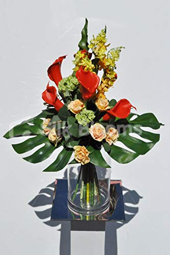 Silk-Blooms-Ltd-Artificial-Bright-Red-Calla-Lily-and-Peach-Rose-Flower-Display-wYellow-Orchids-and-Green-Snowball