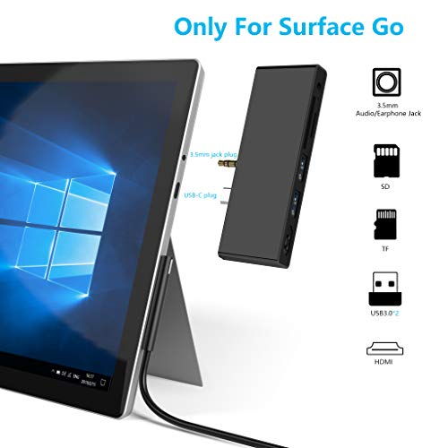 Review Of Surface Go Docking Station, USB C HDMI Adapter for Surface Go, Ketaky 6-in-1 USB C Hub Adapter Dongle with 4K USB C to HDMI, 2 USB 3.0 Ports, 3.5mm Earphones Jack,SD/TF Card Reader(Surface Go Hub)