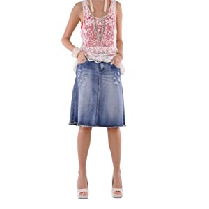Style J Rock N Ripped Jean Skirt