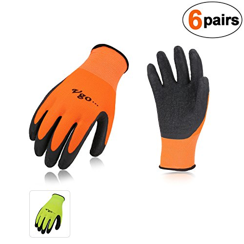 - Vgo 6-Pairs Latex Rubber Coated Gardening and Work Gloves(Size L,High-Vis Green+Orange,RB6023)