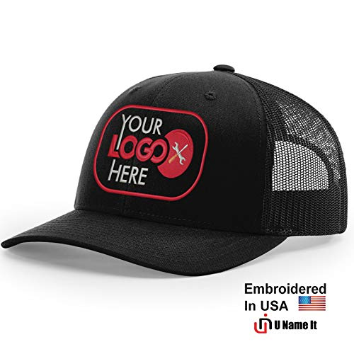 Custom Richardson 112 Hat with Your Logo Embroidered Trucker Mesh Snapback Cap (Adjustable Snapback Solid Colorway, Black)